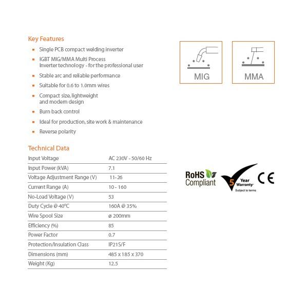 Welders Discount Warehouse, , JASIC MIG 160 MULTI PROCESS
